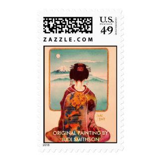 geisha from back jpec, ORIGINAL PAINTING BYJUDI... Stamp