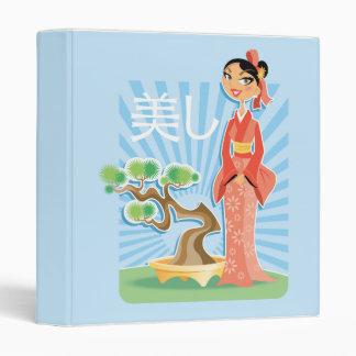 geisha girl and bonsai tree notebook vinyl binders
