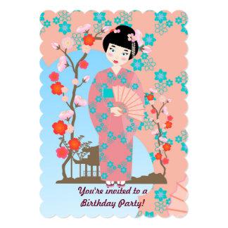 Geisha girl and flowers  birthday party invitation