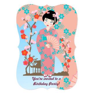 Geisha girl birthday party card