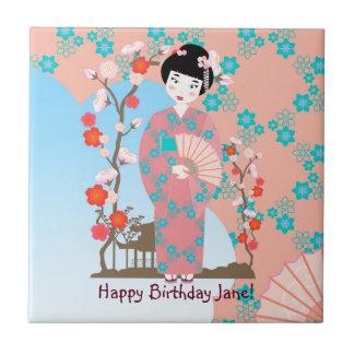 Geisha girl birthday party ceramic tile