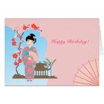 Geisha girl birthday party greeting card