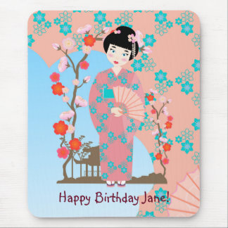 Geisha girl birthday party mouse pad