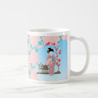 Geisha girl birthday party classic white coffee mug