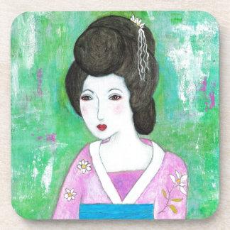 Geisha Girl Mixed Media Abstract Painting Coaster
