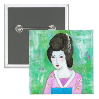 Geisha Girl Mixed Media Abstract Painting Pinback Button