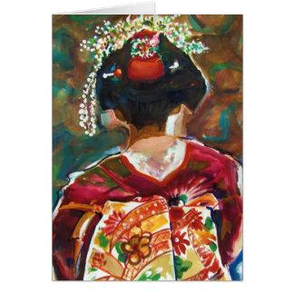 Geisha Girl Original Art Blank CARD by Therese