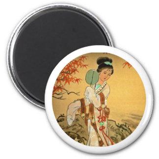 Geisha Girl with Fan Magnet