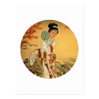 Geisha Girl with Fan Postcard