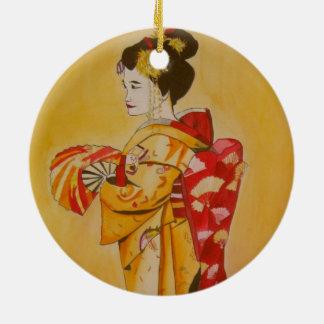 Geisha gold kimono original watercolor art ceramic ornament
