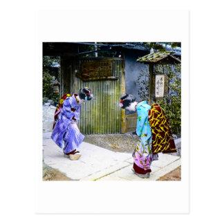 Geisha Greetings at the Gate Vintage Old Japan Postcard