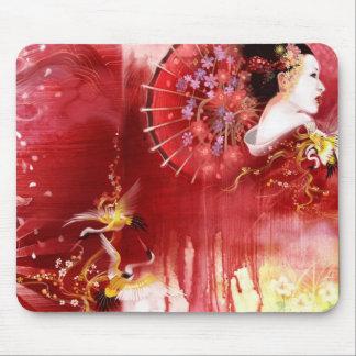Geisha, grúas y flores tapete de ratones