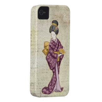 Geisha hermoso del japonés del vintage Case-Mate iPhone 4 cárcasas