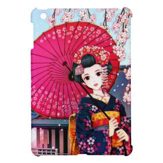 Geisha hermoso en tiempo de primavera
