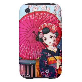 Geisha hermoso en tiempo de primavera carcasa resistente para iPhone