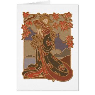 Geisha in Black Kimono and Fan Card