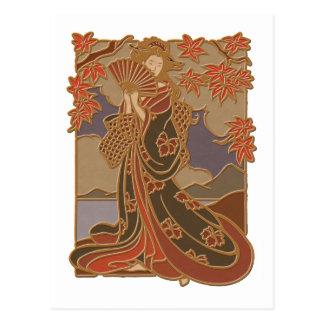 Geisha in Black Kimono and Fan Postcard