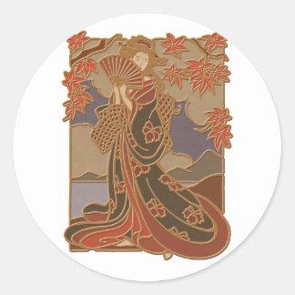 Geisha in Black Kimono and Fan Round Sticker