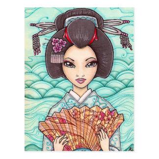 Geisha in Blue Kimono Japanese Ukiyoe Art Postcard