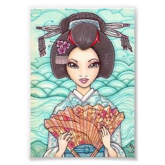 Geisha in Blue Kimono Ukiyoe Art Print Photo Print