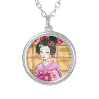 Geisha in Pink Kimono Asian Art Pedant Round Pendant Necklace