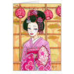 Geisha in Pink Kimono Blank Note Card