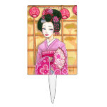 Geisha in Pink Kimono Cake Topper