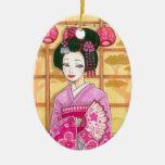 Geisha in Pink Kimono Japanese Art Ornament
