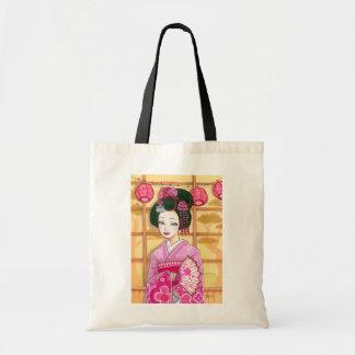 Geisha in Pink Kimono Japanese Art Tote Bag
