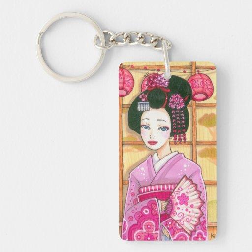 Geisha in Pink Kimono Japanese Ukiyoe Art Keychain Rectangle Acrylic Keychain