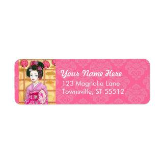 Geisha in Pink Kimono Personalized Address Label