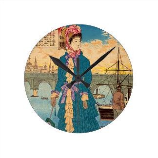 Geisha in the West Japanese Woodblock Art Ukiyo-E Round Wall Clock