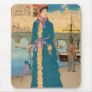 Geisha in the West Japanese Woodblock Art Ukiyo-E Mouse Pad
