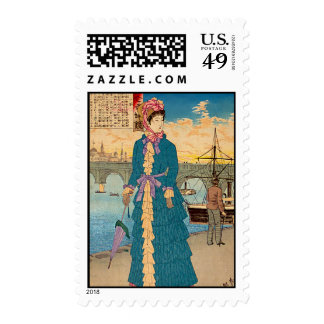 Geisha in the West Japanese Woodblock Art Ukiyo-E Postage Stamps