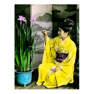Geisha in Yellow Kimono Arranging Flowers Vintage Postcard