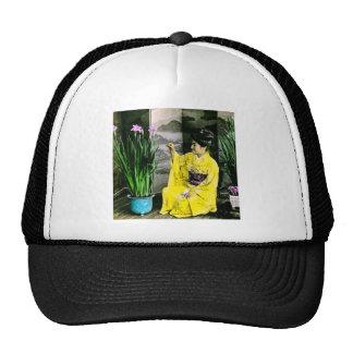 Geisha in Yellow Kimono Arranging Flowers Vintage Trucker Hat