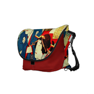 Geisha Japanese Woodcut HUGE Crossbody Tote Bag Messenger Bag