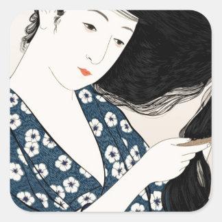 Geisha japón calcomanías cuadradases