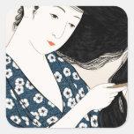 Geisha japón pegatina cuadrada