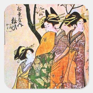 Geisha japonés 1911 del grabado tres pegatina cuadrada