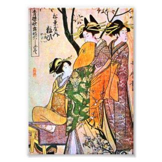 Geisha japonés 1911 del grabado tres fotos