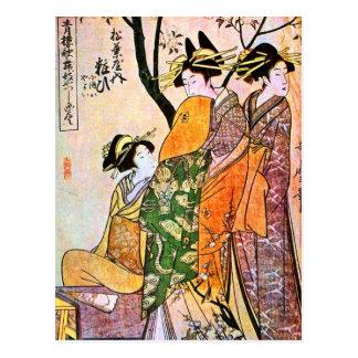 Geisha japonés 1911 del grabado tres postales