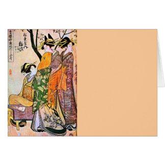 Geisha japonés 1911 del grabado tres tarjeta de felicitación