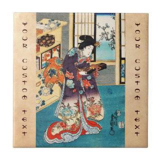Geisha japonés clásico Utagawa del ukiyo-e del vin Azulejo Ceramica