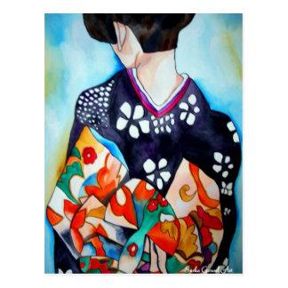 Geisha japonés con arte azul de la original del tarjeta postal