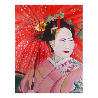 Geisha japonés con arte rojo de la original del pa tarjetas postales