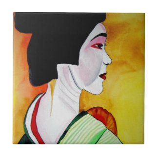 Geisha japonés con arte verde de la original del azulejos