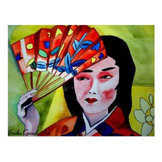 geisha japonés con la fan postal