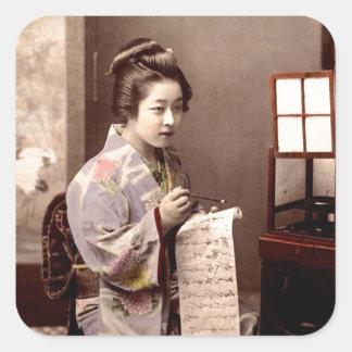 Geisha japonés del vintage - escritor de letra pegatina cuadrada