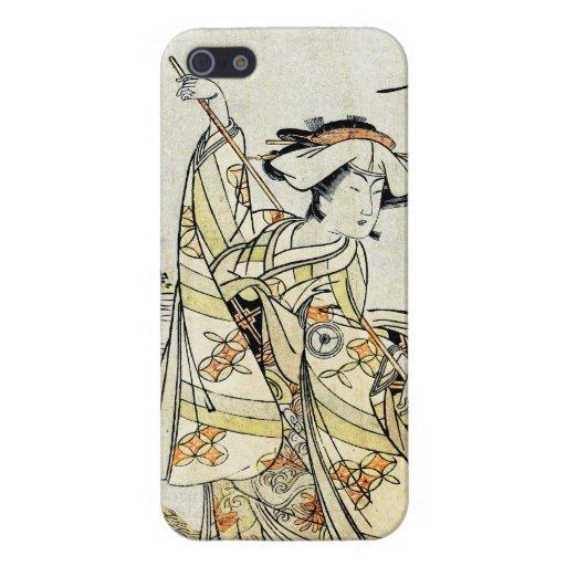 Geisha japonés fresco de la voluta del ukiyo-e del iPhone 5 cárcasa